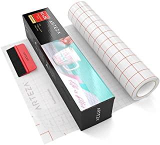 Cinta de transferencia transparente con rejilla y rasqueta | Rollo de 30,48 cm x 7,62 metros | Cinta de alineación y transferencia
